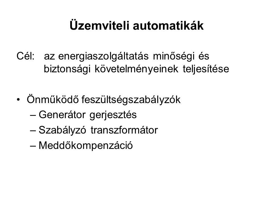 Üzemviteli automatikák Cél: az energiaszolgáltatás minőségi és biztonsági követelményeinek teljesítése Önműködő feszültségszabályzók –Generátor gerjesztés –Szabályzó transzformátor –Meddőkompenzáció