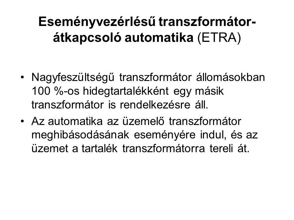 Eseményvezérlésű transzformátor- átkapcsoló automatika (ETRA) Nagyfeszültségű transzformátor állomásokban 100 %-os hidegtartalékként egy másik transzformátor is rendelkezésre áll.