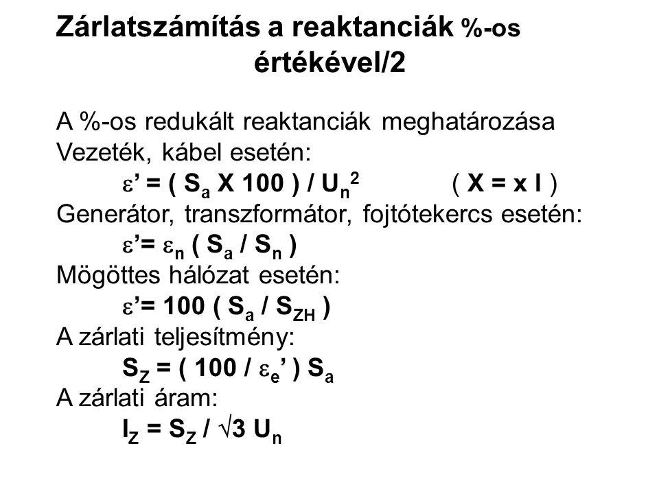 Zárlatszámítás a reaktanciák %-os értékével/2 A %-os redukált reaktanciák meghatározása Vezeték, kábel esetén:  ' = ( S a X 100 ) / U n 2 ( X = x l ) Generátor, transzformátor, fojtótekercs esetén:  '=  n ( S a / S n ) Mögöttes hálózat esetén:  '= 100 ( S a / S ZH ) A zárlati teljesítmény: S Z = ( 100 /  e ' ) S a A zárlati áram: I Z = S Z /  3 U n