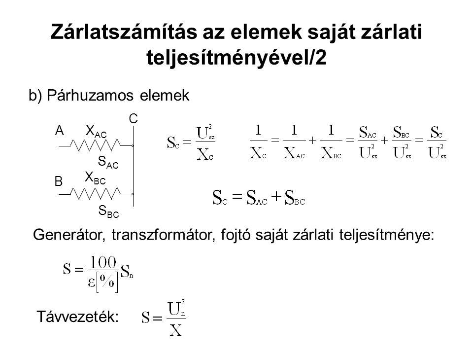 Zárlatszámítás az elemek saját zárlati teljesítményével/2 b) Párhuzamos elemek X AC X BC S BC S AC A B C Generátor, transzformátor, fojtó saját zárlati teljesítménye: Távvezeték: