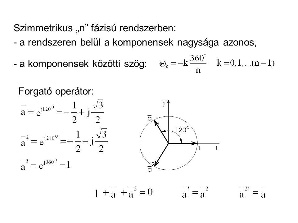 """Szimmetrikus """"n fázisú rendszerben: - a rendszeren belül a komponensek nagysága azonos, - a komponensek közötti szög: Forgató operátor: 2"""