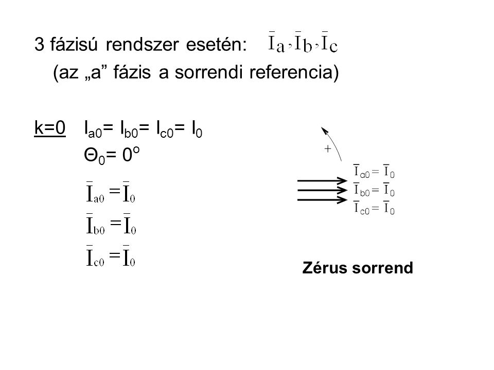 """3 fázisú rendszer esetén: (az """"a fázis a sorrendi referencia) k=0I a0 = I b0 = I c0 = I 0 Θ 0 = 0 o Zérus sorrend"""