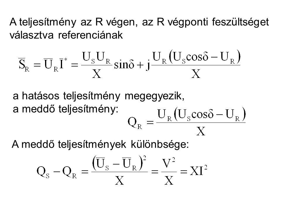 A teljesítmény az R végen, az R végponti feszültséget választva referenciának a hatásos teljesítmény megegyezik, a meddő teljesítmény: A meddő teljesítmények különbsége: