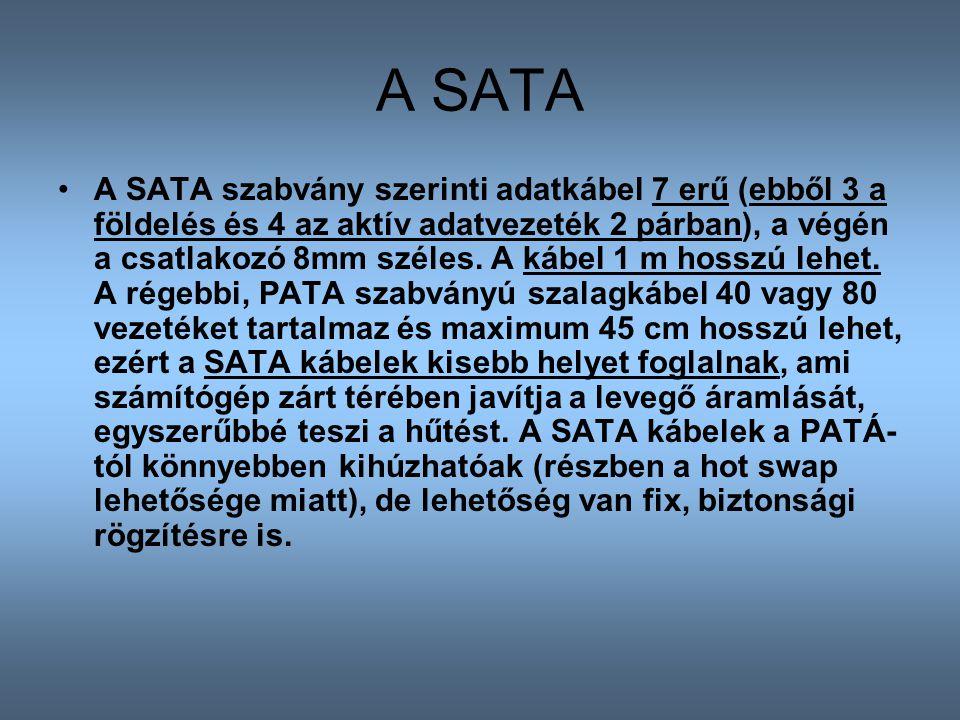 A SATA A SATA szabvány szerinti adatkábel 7 erű (ebből 3 a földelés és 4 az aktív adatvezeték 2 párban), a végén a csatlakozó 8mm széles. A kábel 1 m