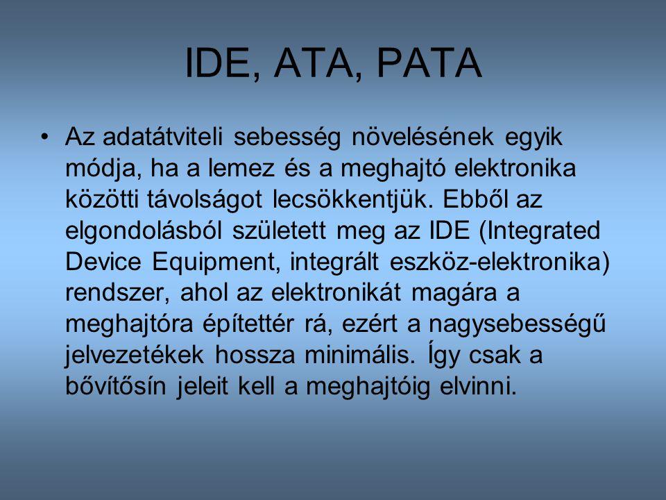 IDE, ATA, PATA Az adatátviteli sebesség növelésének egyik módja, ha a lemez és a meghajtó elektronika közötti távolságot lecsökkentjük. Ebből az elgon