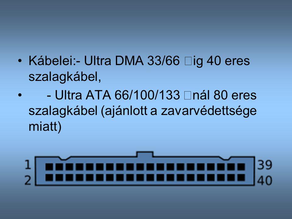 Kábelei:- Ultra DMA 33/66 –ig 40 eres szalagkábel, - Ultra ATA 66/100/133 –nál 80 eres szalagkábel (ajánlott a zavarvédettsége miatt)
