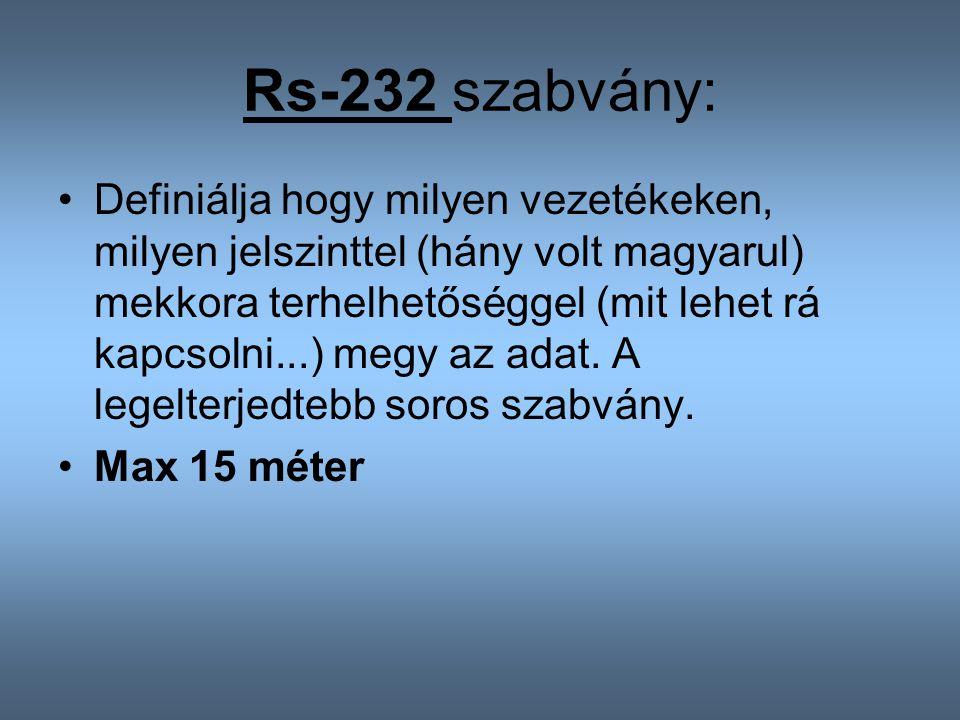 Rs-232 szabvány: Definiálja hogy milyen vezetékeken, milyen jelszinttel (hány volt magyarul) mekkora terhelhetőséggel (mit lehet rá kapcsolni...) megy