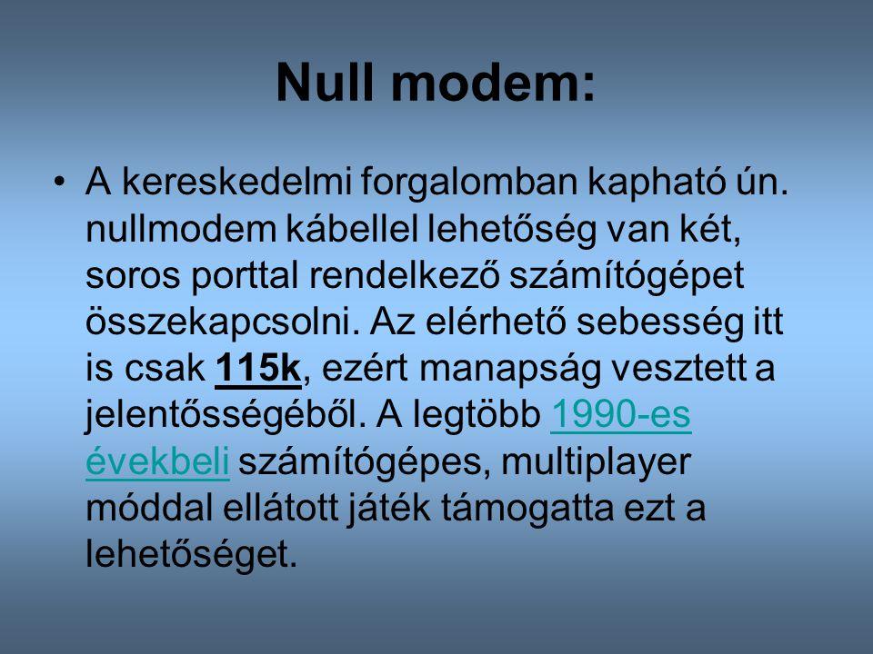 Null modem: A kereskedelmi forgalomban kapható ún. nullmodem kábellel lehetőség van két, soros porttal rendelkező számítógépet összekapcsolni. Az elér