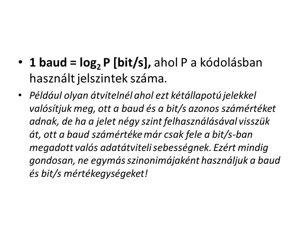 1 baud = log 2 P [bit/s], ahol P a kódolásban használt jelszintek száma. Például olyan átvitelnél ahol ezt kétállapotú jelekkel valósítjuk meg, ott a