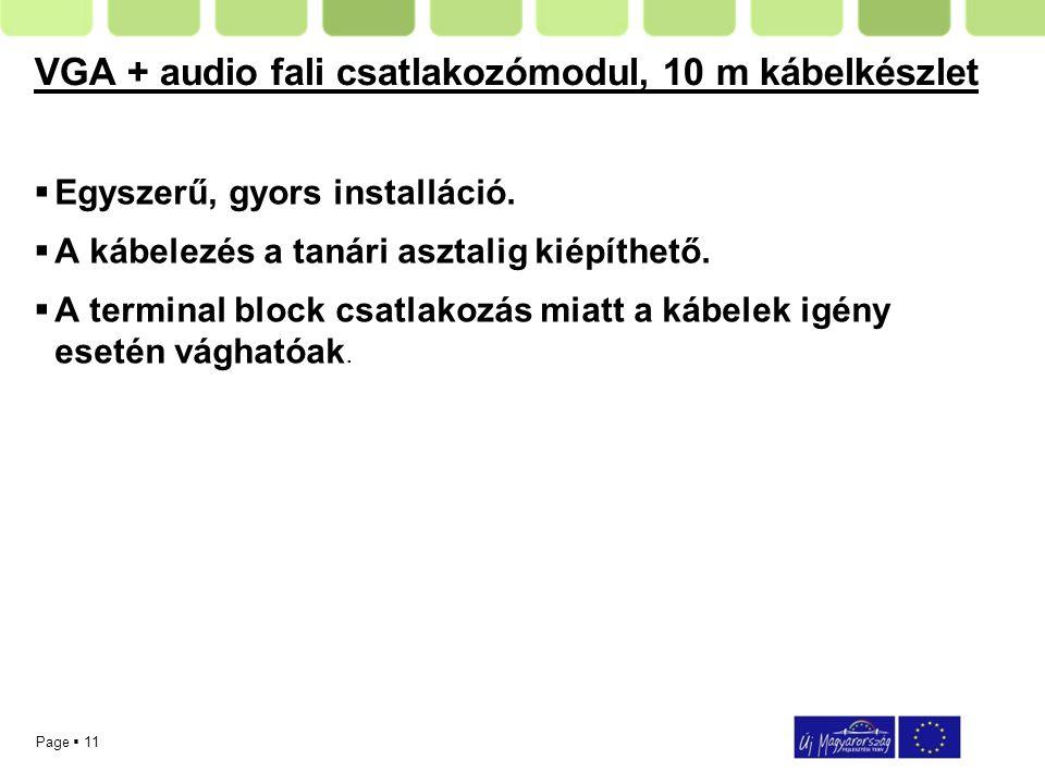 Page  11 VGA + audio fali csatlakozómodul, 10 m kábelkészlet  Egyszerű, gyors installáció.