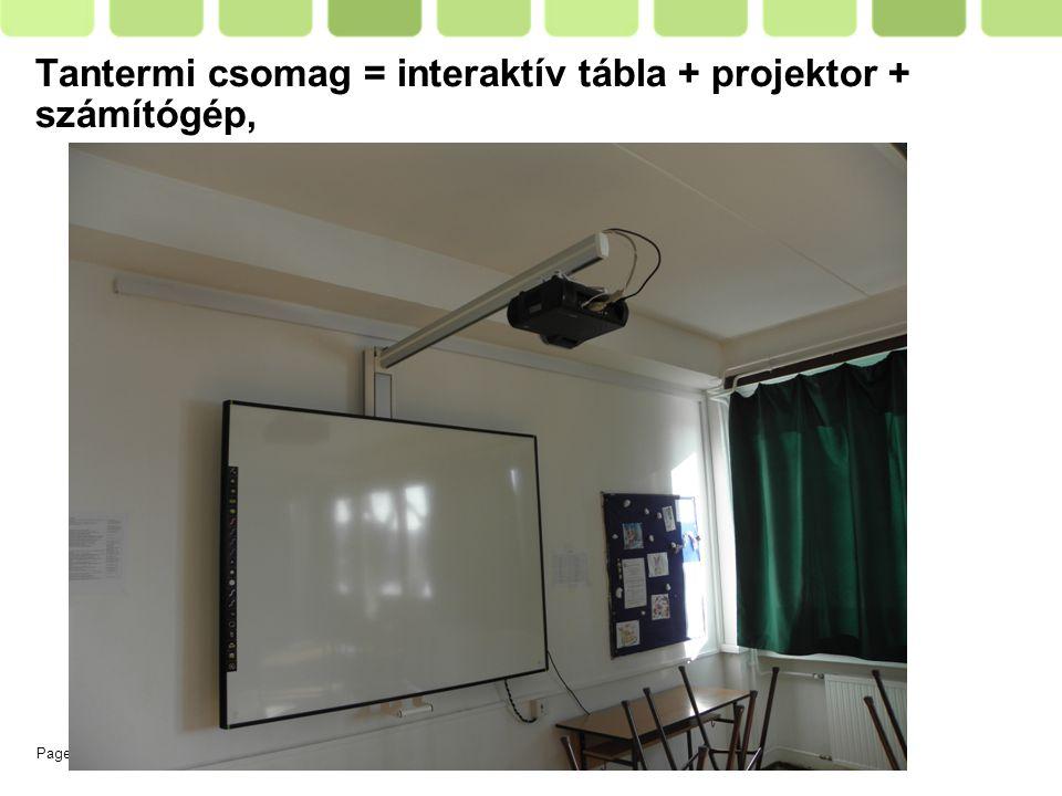 Page  6 Tantermi csomag = interaktív tábla + projektor + számítógép,