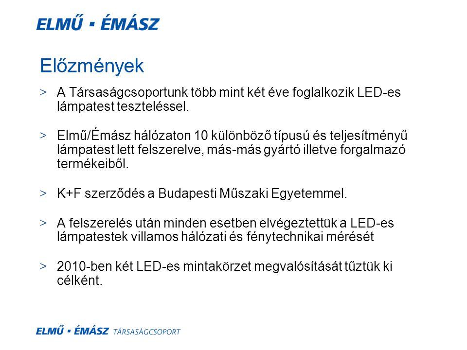 Előzmények >A Társaságcsoportunk több mint két éve foglalkozik LED-es lámpatest teszteléssel. >Elmű/Émász hálózaton 10 különböző típusú és teljesítmén