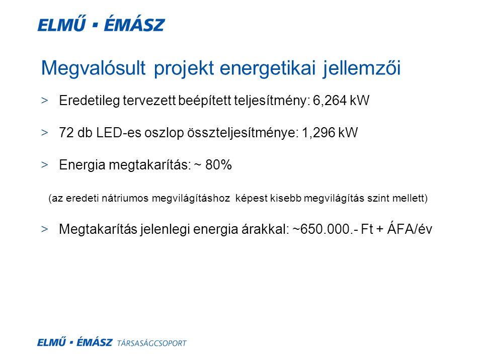 Megvalósult projekt energetikai jellemzői >Eredetileg tervezett beépített teljesítmény: 6,264 kW >72 db LED-es oszlop összteljesítménye: 1,296 kW >Ene