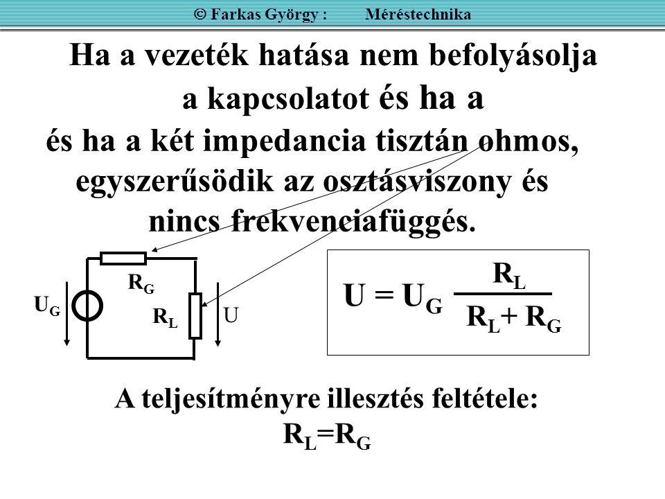 Ha a vezeték hatása nem befolyásolja a kapcsolatot és ha a  Farkas György : Méréstechnika RGRG UGUG RLRL U U = U G RLRL R L + R G és ha a két impedan