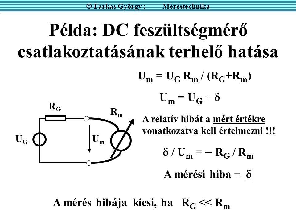 Példa: DC feszültségmérő csatlakoztatásának terhelő hatása  Farkas György : Méréstechnika RGRG UGUG U m = U G R m / (R G +R m ) U m = U G +   / U m