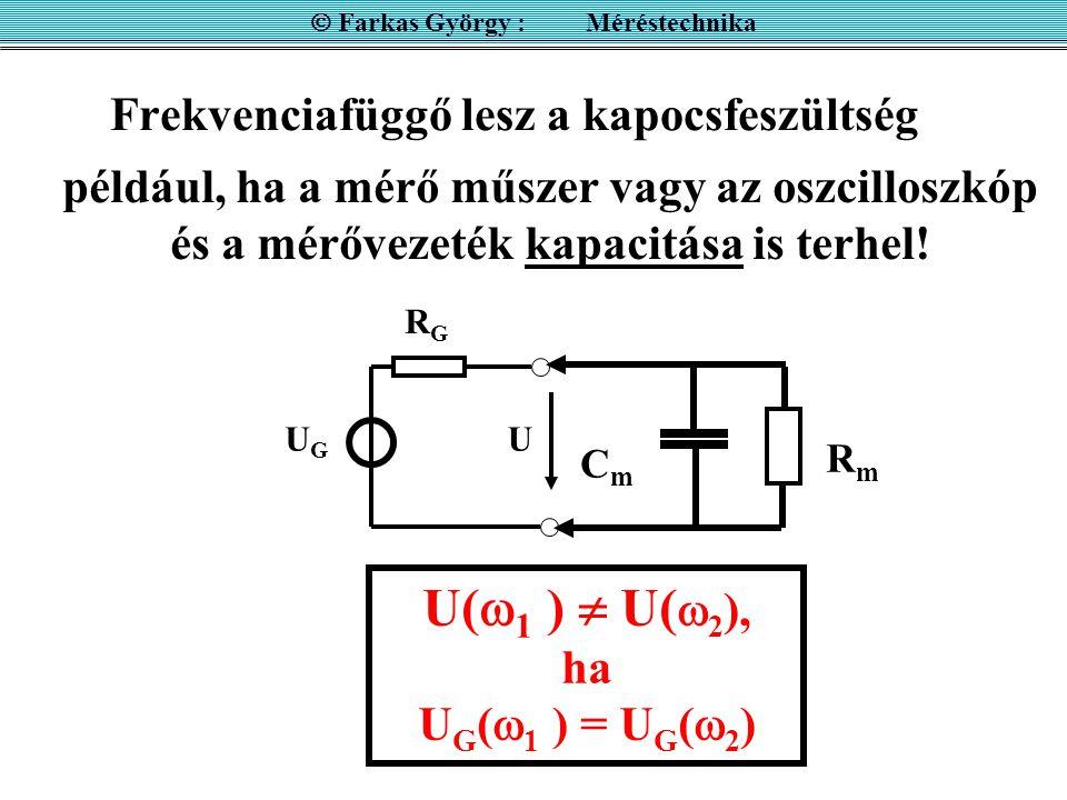 Frekvenciafüggő lesz a kapocsfeszültség  Farkas György : Méréstechnika például, ha a mérő műszer vagy az oszcilloszkóp és a mérővezeték kapacitása is