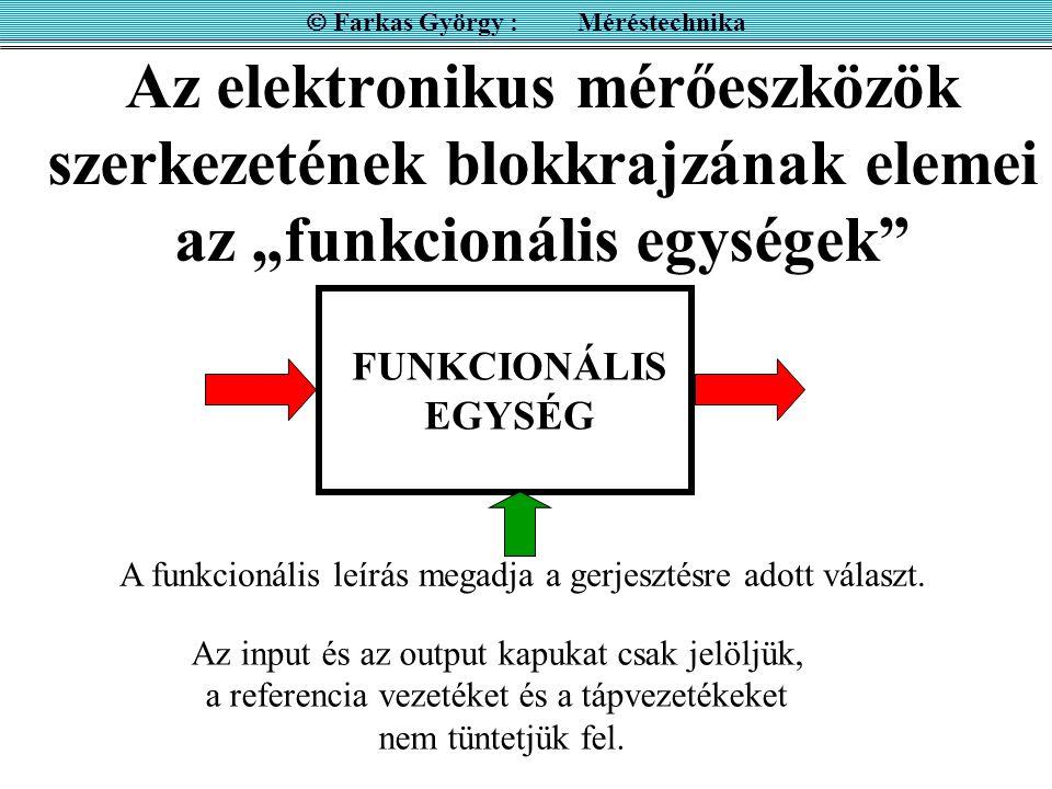 """Az elektronikus mérőeszközök szerkezetének blokkrajzának elemei az """"funkcionális egységek""""  Farkas György : Méréstechnika FUNKCIONÁLIS EGYSÉG Az inpu"""
