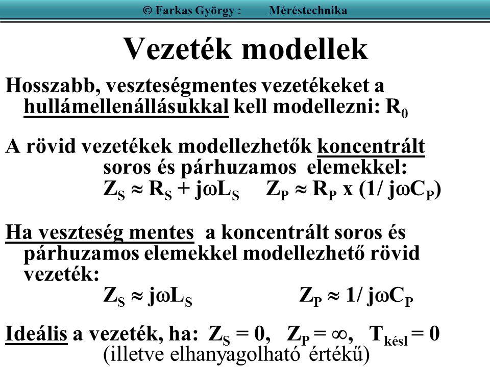 Vezeték modellek Hosszabb, veszteségmentes vezetékeket a hullámellenállásukkal kell modellezni: R 0 A rövid vezetékek modellezhetők koncentrált soros