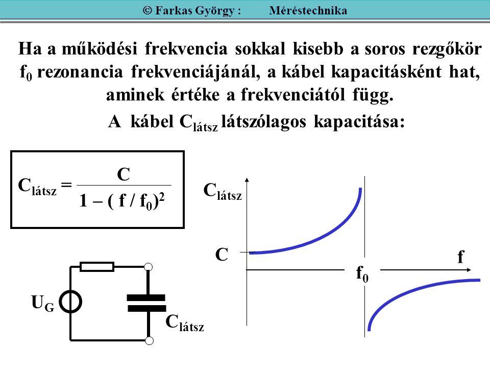 Ha a működési frekvencia sokkal kisebb a soros rezgőkör f 0 rezonancia frekvenciájánál, a kábel kapacitásként hat, aminek értéke a frekvenciától függ.