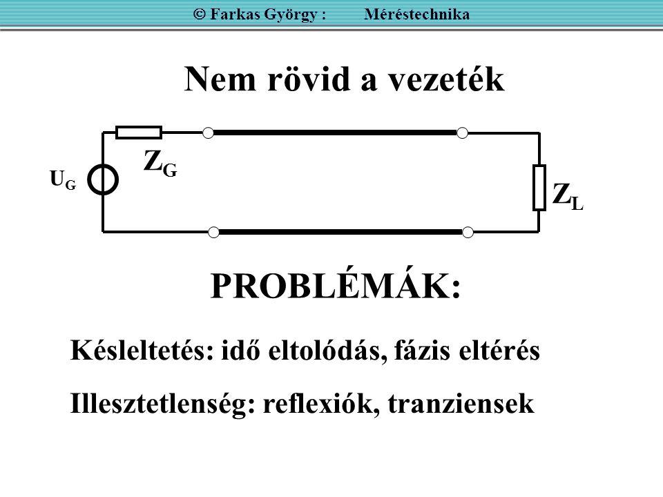 Nem rövid a vezeték  Farkas György : Méréstechnika ZGZG UGUG ZLZL PROBLÉMÁK: Késleltetés: idő eltolódás, fázis eltérés Illesztetlenség: reflexiók, tr