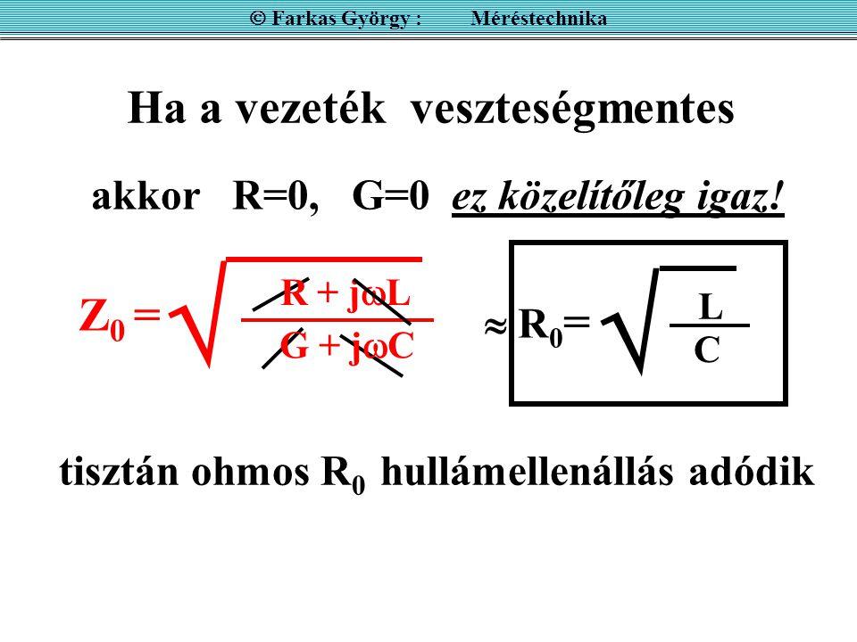 Ha a vezeték veszteségmentes  Farkas György : Méréstechnika  R0= R0=  L C R + j  L  G + j  C Z0 =Z0 = akkor R=0, G=0 ez közelítőleg igaz! tiszt