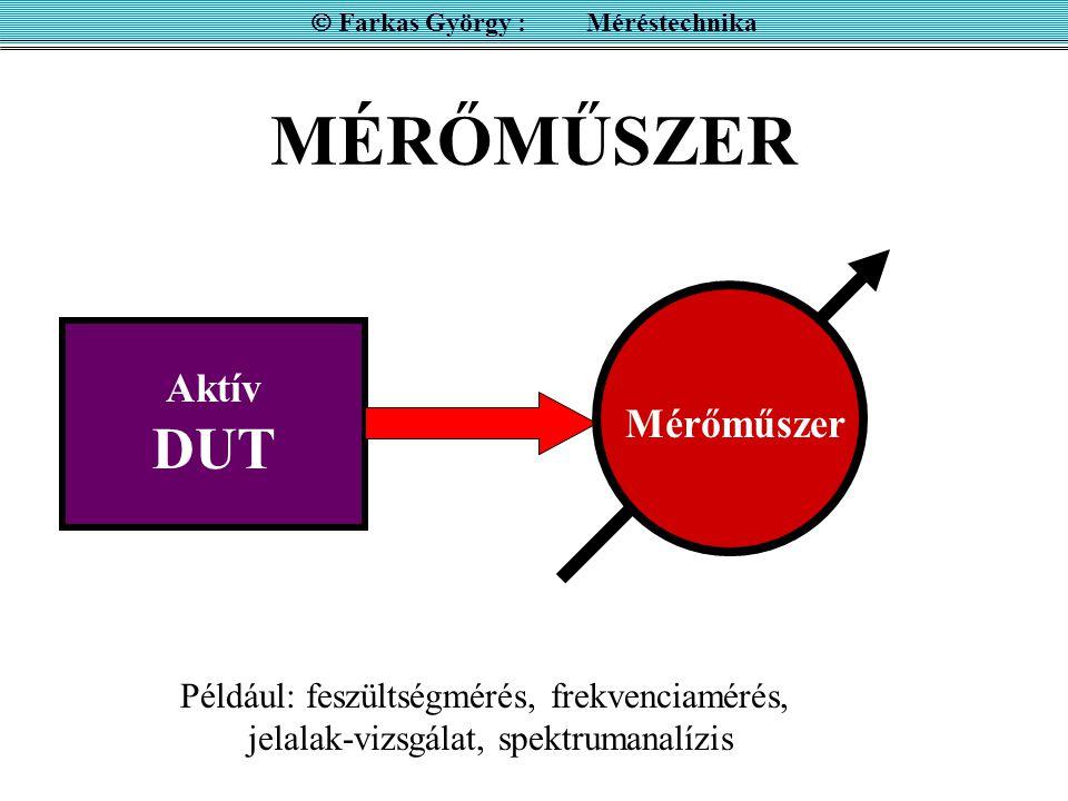 MÉRŐMŰSZER Aktív DUT Mérőműszer  Farkas György : Méréstechnika Például: feszültségmérés, frekvenciamérés, jelalak-vizsgálat, spektrumanalízis