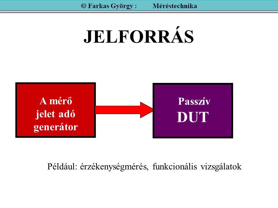 JELFORRÁS A mérő jelet adó generátor Mérőműszer  Farkas György : Méréstechnika Passzív DUT Például: érzékenységmérés, funkcionális vizsgálatok