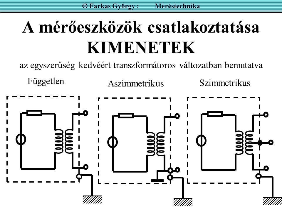 A mérőeszközök csatlakoztatása KIMENETEK  Farkas György : Méréstechnika Független Szimmetrikus az egyszerűség kedvéért transzformátoros változatban b