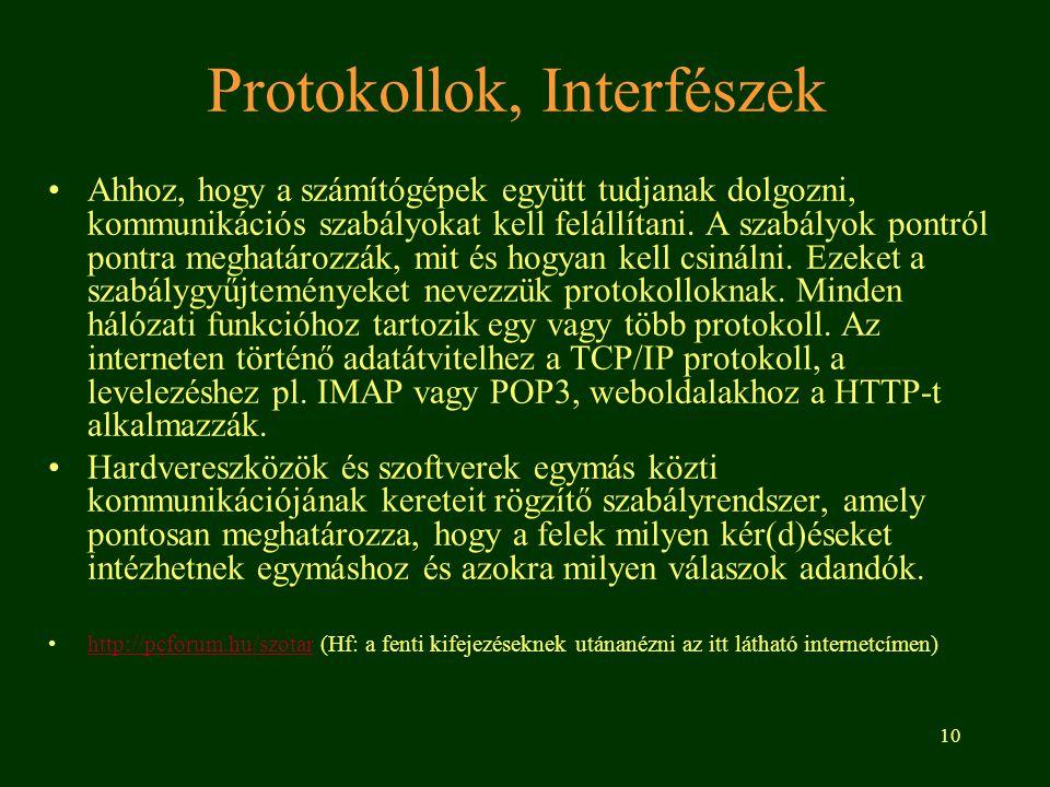 10 Protokollok, Interfészek Ahhoz, hogy a számítógépek együtt tudjanak dolgozni, kommunikációs szabályokat kell felállítani. A szabályok pontról pontr