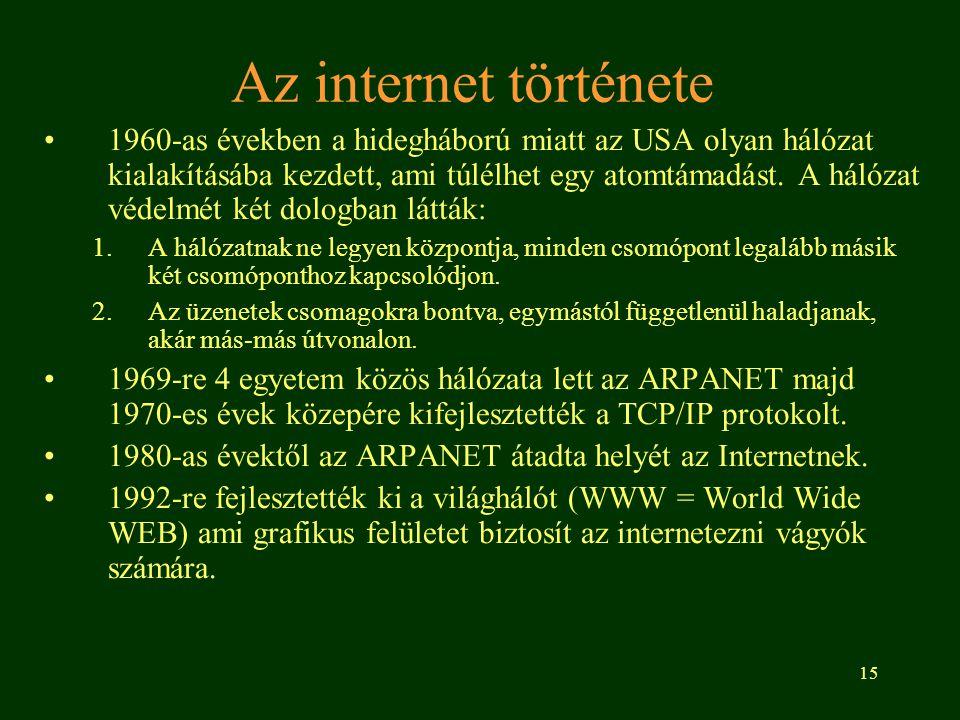 15 Az internet története 1960-as években a hidegháború miatt az USA olyan hálózat kialakításába kezdett, ami túlélhet egy atomtámadást. A hálózat véde
