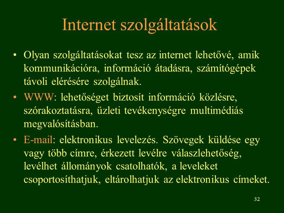 32 Internet szolgáltatások Olyan szolgáltatásokat tesz az internet lehetővé, amik kommunikációra, információ átadásra, számítógépek távoli elérésére s