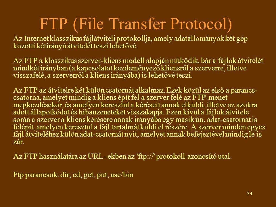 34 FTP (File Transfer Protocol) Az Internet klasszikus fájlátviteli protokollja, amely adatállományok két gép közötti kétirányú átvitelét teszi lehető