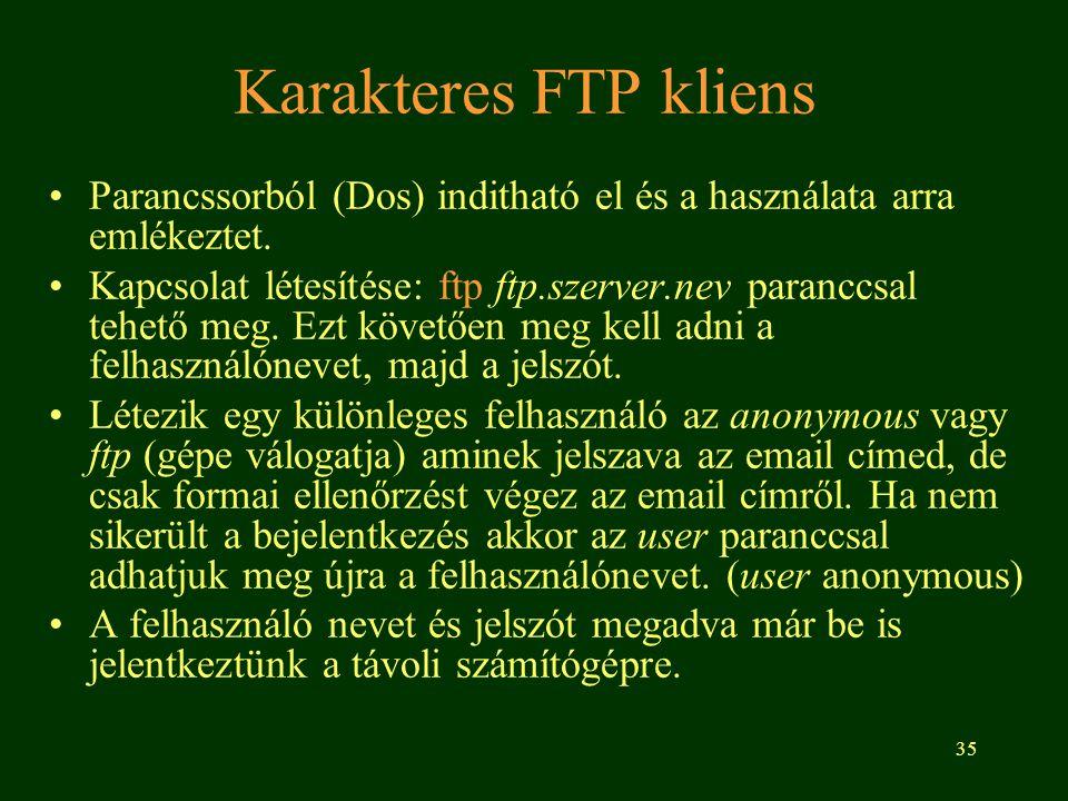 35 Karakteres FTP kliens Parancssorból (Dos) inditható el és a használata arra emlékeztet. Kapcsolat létesítése: ftp ftp.szerver.nev paranccsal tehető