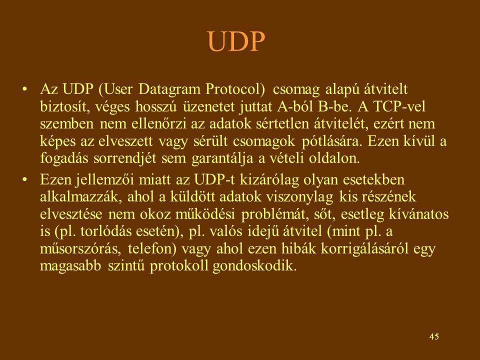 45 UDP Az UDP (User Datagram Protocol) csomag alapú átvitelt biztosít, véges hosszú üzenetet juttat A-ból B-be. A TCP-vel szemben nem ellenőrzi az ada