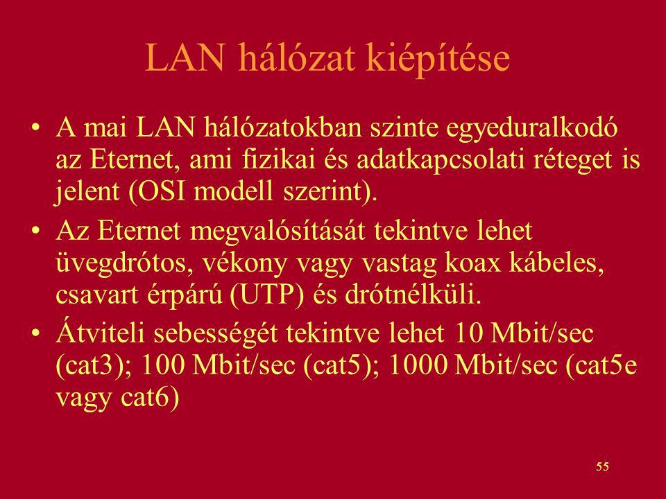 55 LAN hálózat kiépítése A mai LAN hálózatokban szinte egyeduralkodó az Eternet, ami fizikai és adatkapcsolati réteget is jelent (OSI modell szerint).