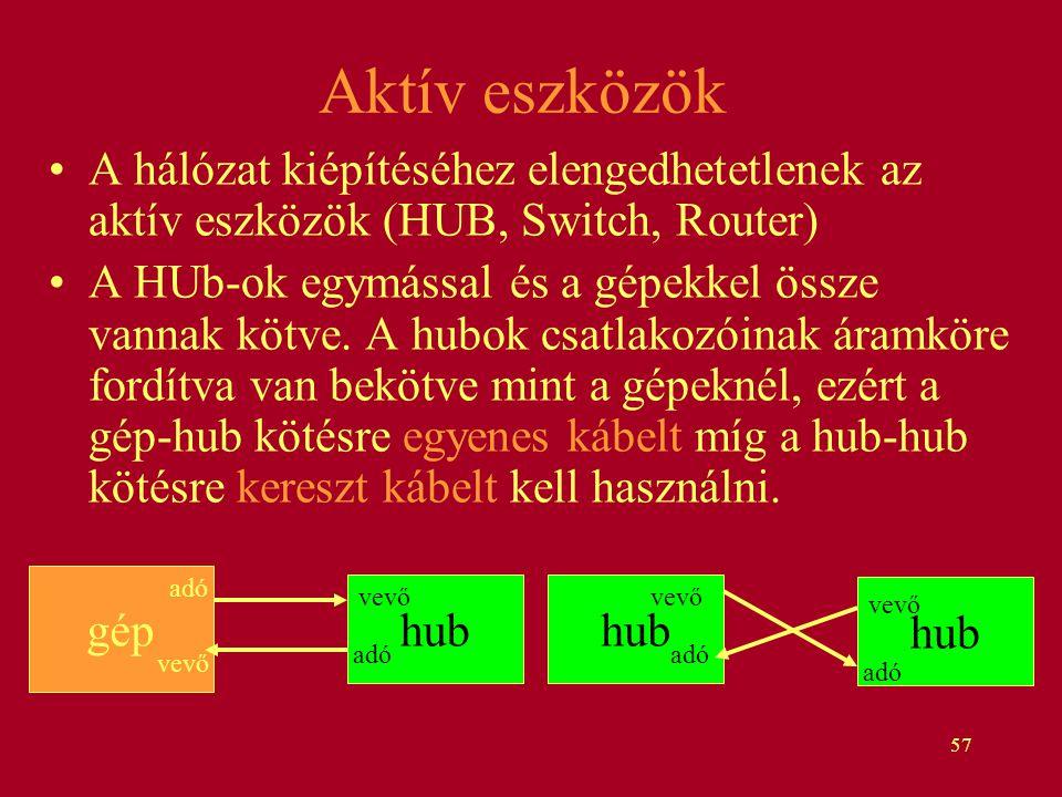 57 hub Aktív eszközök A hálózat kiépítéséhez elengedhetetlenek az aktív eszközök (HUB, Switch, Router) A HUb-ok egymással és a gépekkel össze vannak k