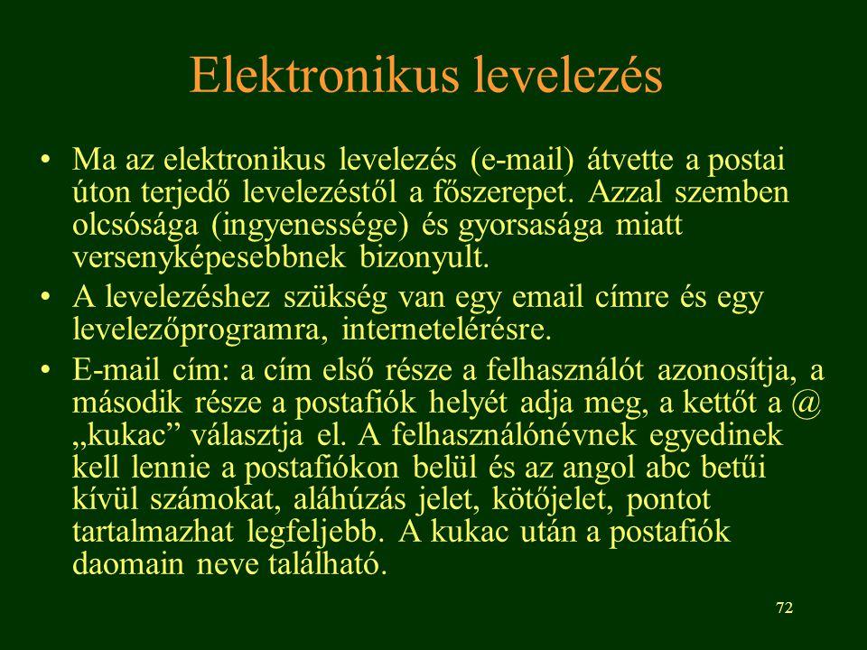 72 Elektronikus levelezés Ma az elektronikus levelezés (e-mail) átvette a postai úton terjedő levelezéstől a főszerepet. Azzal szemben olcsósága (ingy