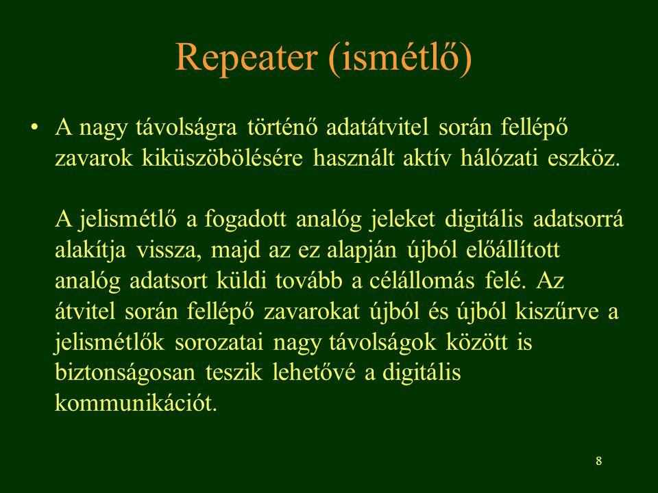 8 Repeater (ismétlő) A nagy távolságra történő adatátvitel során fellépő zavarok kiküszöbölésére használt aktív hálózati eszköz. A jelismétlő a fogado