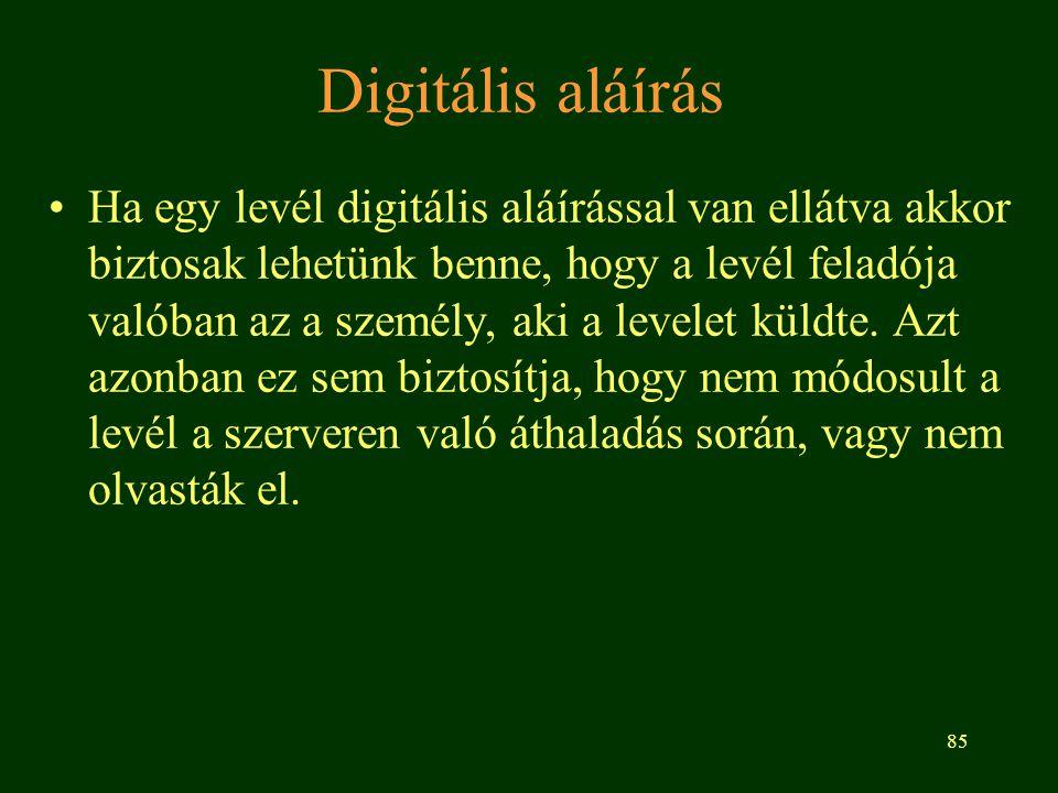 85 Digitális aláírás Ha egy levél digitális aláírással van ellátva akkor biztosak lehetünk benne, hogy a levél feladója valóban az a személy, aki a le