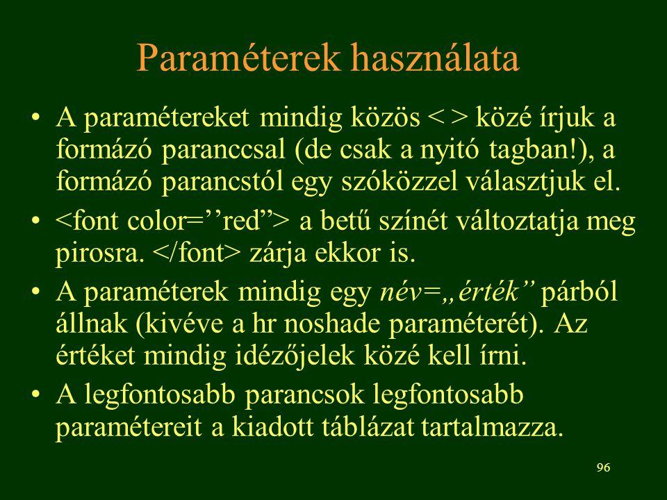 96 Paraméterek használata A paramétereket mindig közös közé írjuk a formázó paranccsal (de csak a nyitó tagban!), a formázó parancstól egy szóközzel v