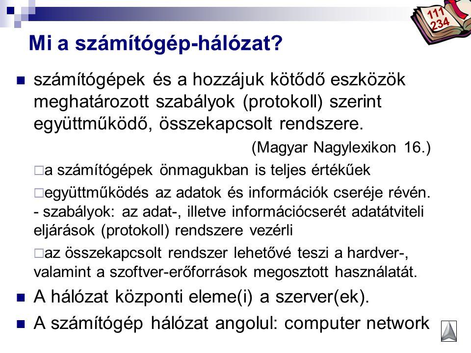 Bóta Laca Mi a számítógép-hálózat? számítógépek és a hozzájuk kötődő eszközök meghatározott szabályok (protokoll) szerint együttműködő, összekapcsolt