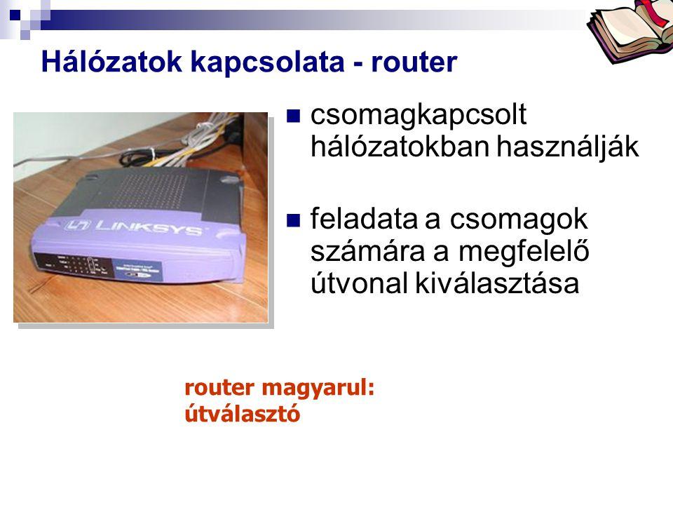 Bóta Laca Hálózatok kapcsolata - router csomagkapcsolt hálózatokban használják feladata a csomagok számára a megfelelő útvonal kiválasztása router mag