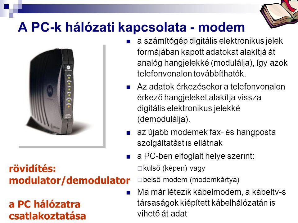 Bóta Laca A PC-k hálózati kapcsolata - modem a számítógép digitális elektronikus jelek formájában kapott adatokat alakítjá át analóg hangjelekké (modu