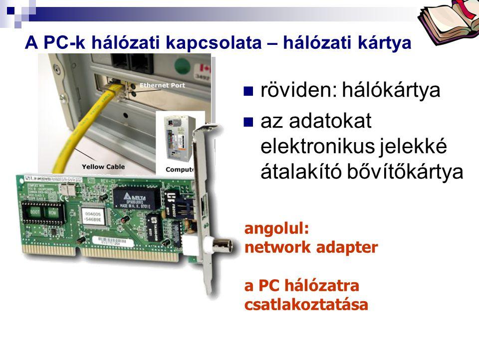 Bóta Laca A PC-k hálózati kapcsolata – hálózati kártya röviden: hálókártya az adatokat elektronikus jelekké átalakító bővítőkártya angolul: network ad