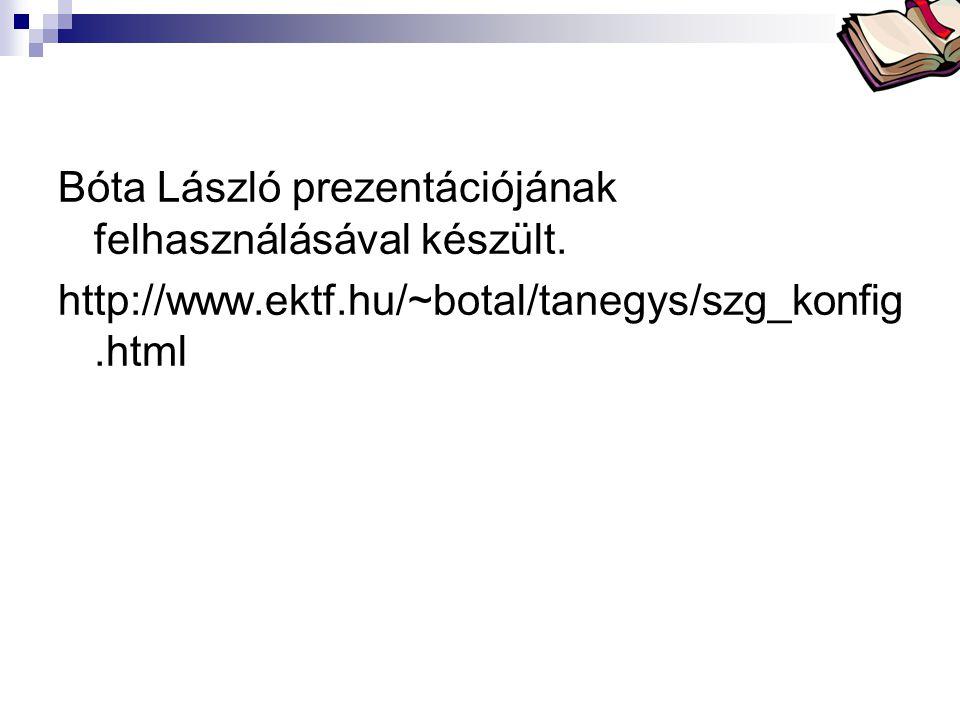 Bóta Laca Bóta László prezentációjának felhasználásával készült. http://www.ektf.hu/~botal/tanegys/szg_konfig.html
