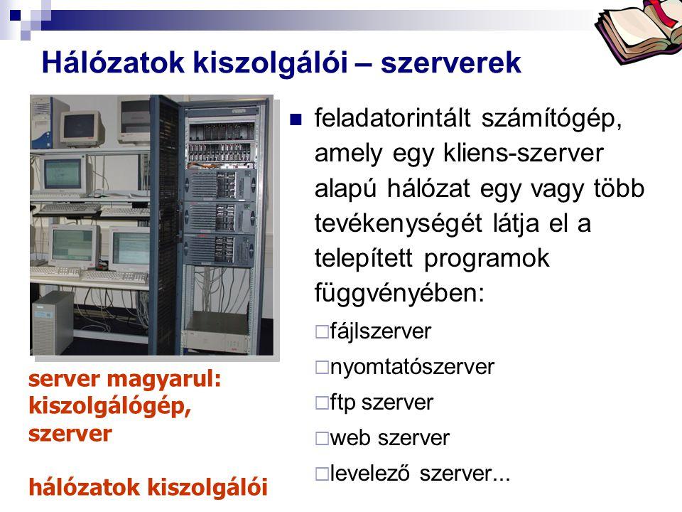 Bóta Laca Hálózatok kiszolgálói – szerverek feladatorintált számítógép, amely egy kliens-szerver alapú hálózat egy vagy több tevékenységét látja el a