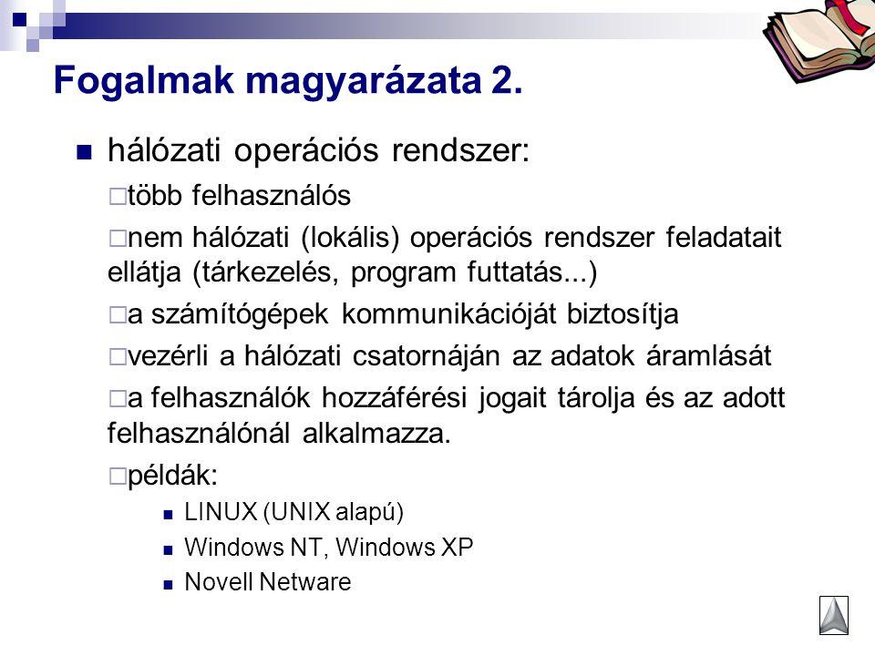 Bóta Laca Fogalmak magyarázata 2. hálózati operációs rendszer:  több felhasználós  nem hálózati (lokális) operációs rendszer feladatait ellátja (tár