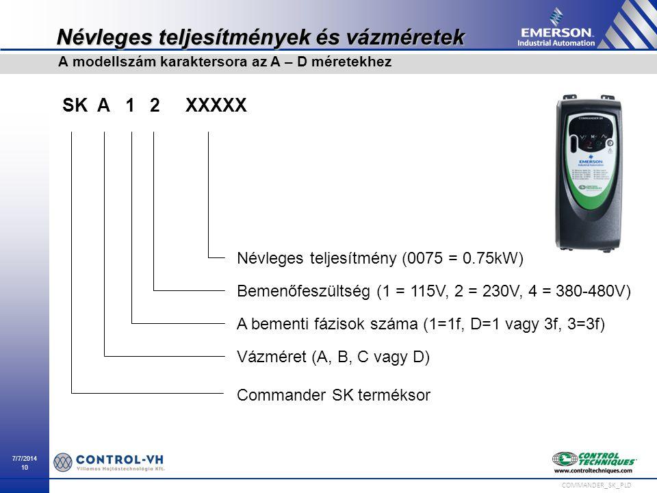 7/7/2014 10 COMMANDER_SK_PLD Névleges teljesítmények és vázméretek A modellszám karaktersora az A – D méretekhez Névleges teljesítmény (0075 = 0.75kW)