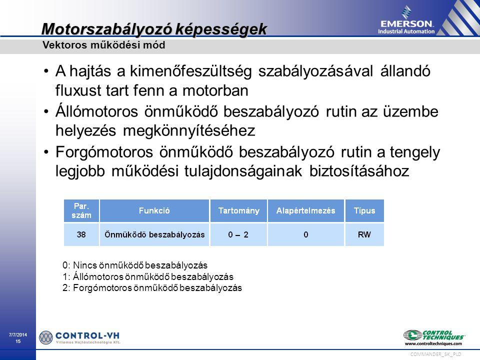 7/7/2014 15 COMMANDER_SK_PLD Motorszabályozó képességek A hajtás a kimenőfeszültség szabályozásával állandó fluxust tart fenn a motorban Állómotoros ö