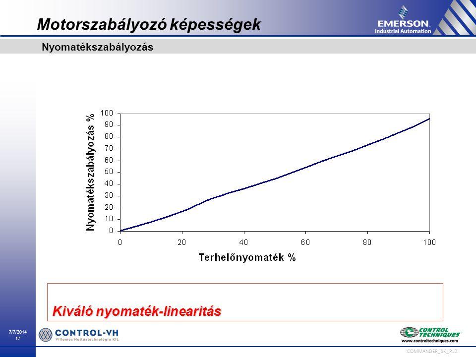 7/7/2014 17 COMMANDER_SK_PLD Nyomatékszabályozás Kiváló nyomaték-linearitás Motorszabályozó képességek